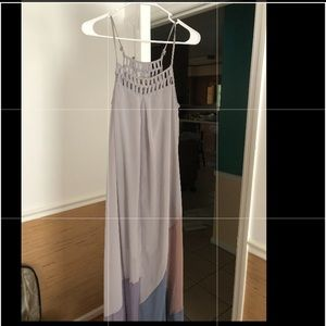 Ya Grey Purple Neutral Maxi Flowy Dress M